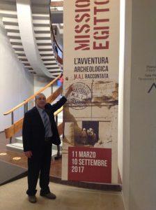 """Umberto Di Donato alla mostra """"Missione Egitto 1903-1920"""" presso il Museo Egizio di Torino."""